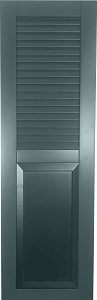 USA Exterior Wood Composite Combo Faux Louver Top/Raised Panel Bottom
